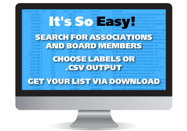 Florida HOA Board Member Lists